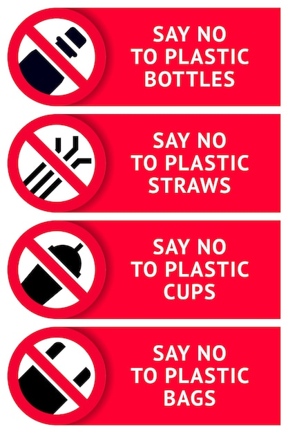 Say no to plastic: stickers for print Premium Vector