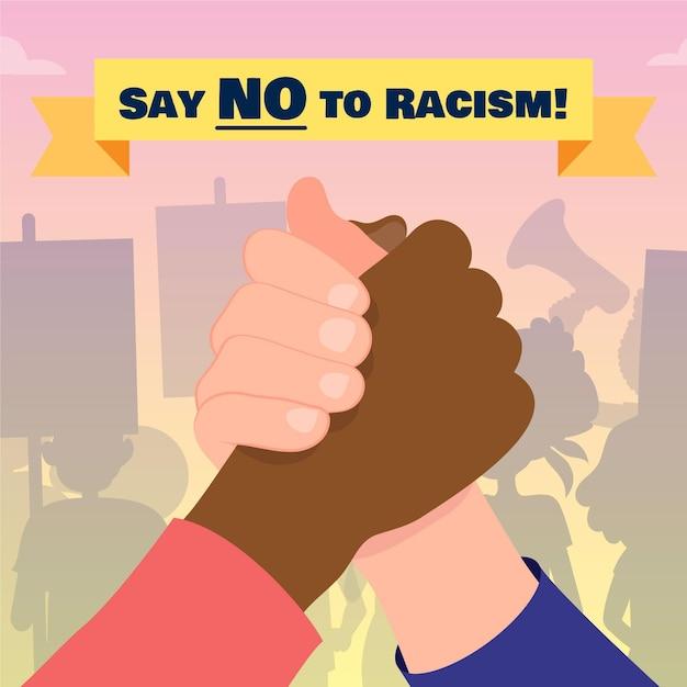 Скажи нет расизму, держась за руки концепции Бесплатные векторы
