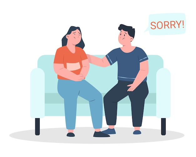 Say sorry with man dan woman sad expression Premium Vector