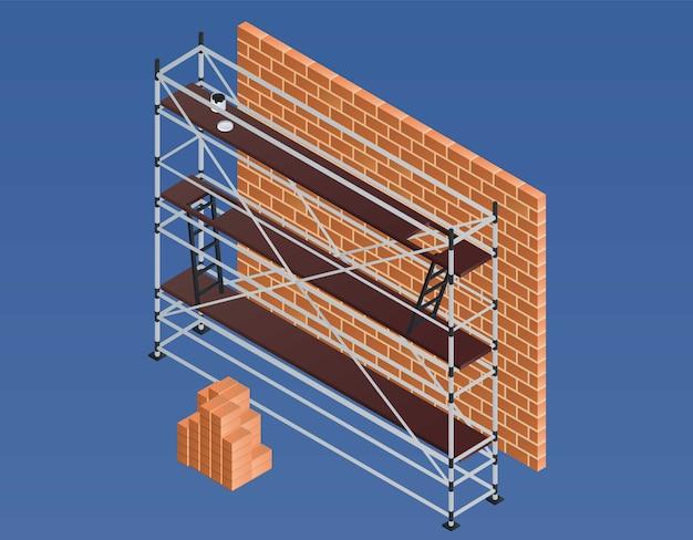 Scaffold brick wall illustration, isometric style Premium Vector
