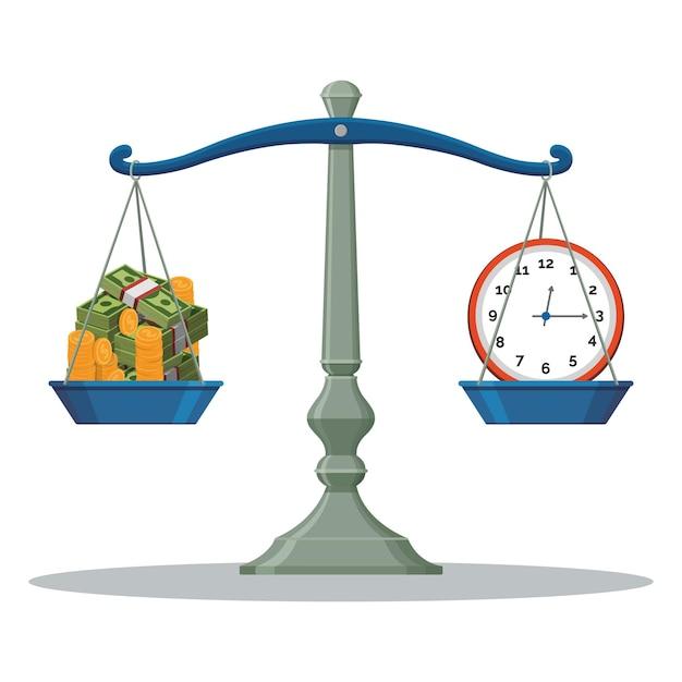 Весы балансировки время и деньги иллюстрации Premium векторы