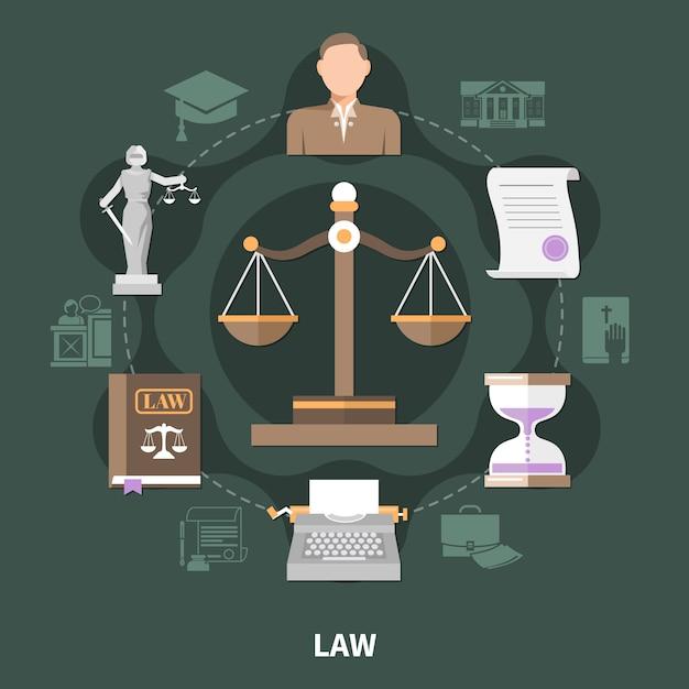 Весы правосудия круглая композиция Бесплатные векторы