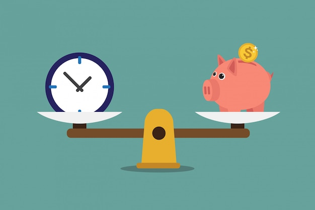 A scale with piggy bank and clock Premium Vector