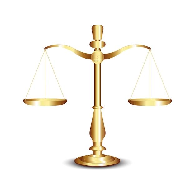 Весы, золотые весы правосудия, изолированные на белом фоне Premium векторы