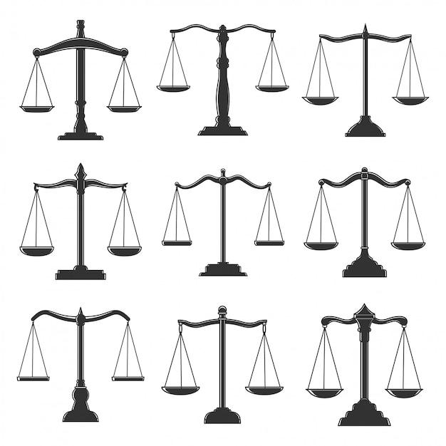 Весы, закон правосудия, нотариус и адвокат иконы. весы символы суда правосудия, адвоката и суда, адвокатуры, нотариуса и юриспруденции, знаки адвоката по гражданским правам Premium векторы