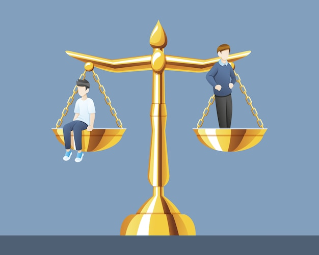 Scales of justice with the same weight Premium Vector