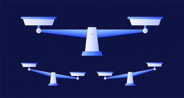Весы установлены, плоский дизайн, весы, изолированные иллюстрации Premium векторы