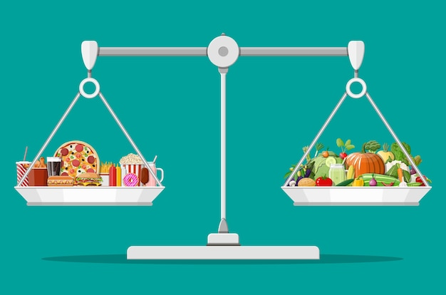 Весы с фастфудом и органическими продуктами. Premium векторы