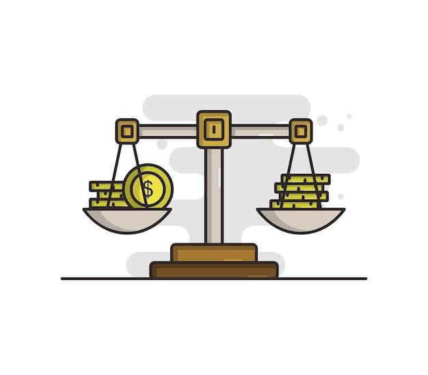Весы с иллюстрированными деньгами Premium векторы