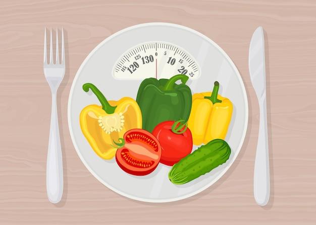 Весы с овощами, вилкой и ножом. диета и здоровье Premium векторы