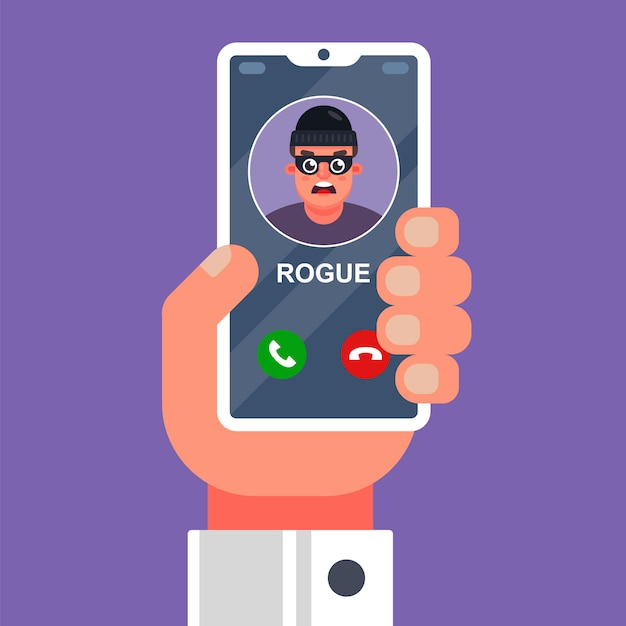 A scammer is calling on a cell phone. Premium Vector