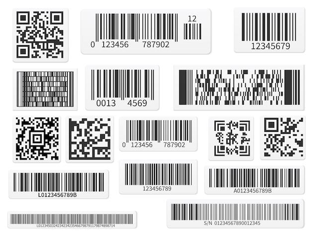 Сканирование кодовых полос и набор qr-кодов Premium векторы