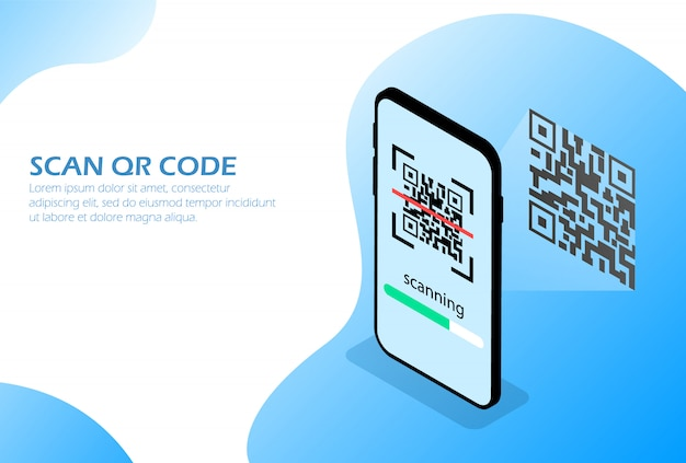 Scan qr code by phone. Premium Vector