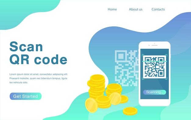 Qrコードのランディングページテンプレートをスキャンするスマートフォンとqrコードをスキャンして支払いを行う Premiumベクター