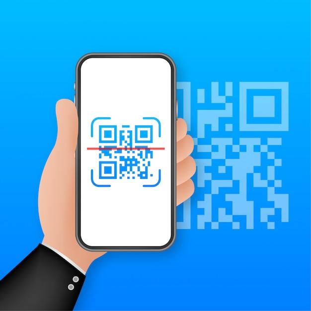 Qrコードをスキャンして携帯電話に送信します。電子、デジタル技術、バーコード。図。 Premiumベクター