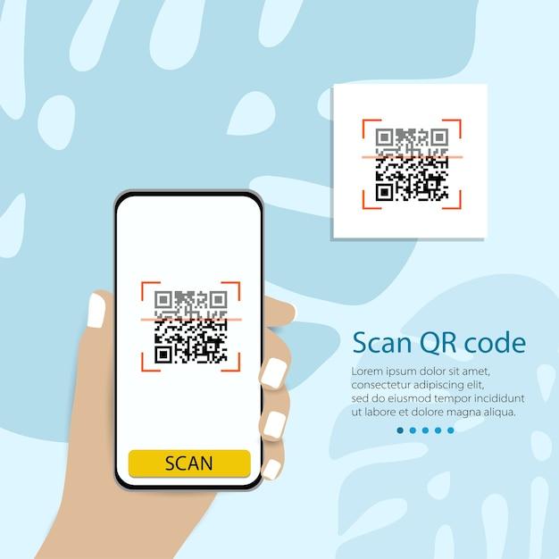 Qrコードを携帯電話にスキャンします。電子、デジタル技術、バーコード。ベクトルイラスト。 Premiumベクター