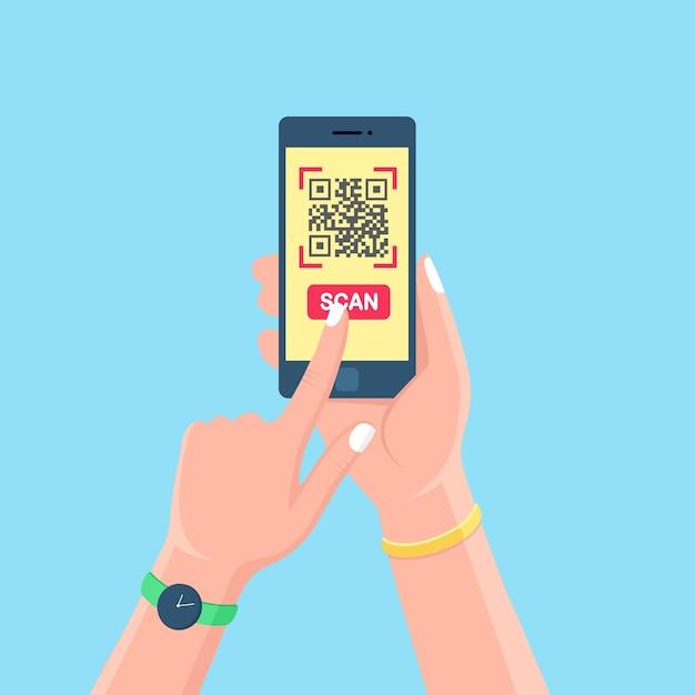 携帯電話にqrコードをスキャンします。モバイルバーコードリーダー、スキャナーを手に。スマートフォンでの電子デジタル決済。 Premiumベクター