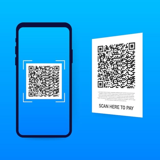 Сканирование для оплаты. смартфон для сканирования qr-кода на бумаге для деталей, технологий и бизнеса. , Premium векторы