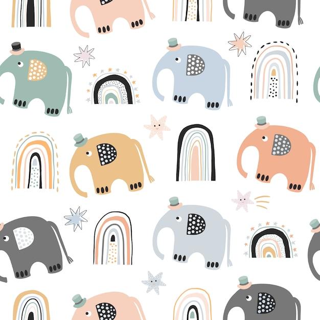 Скандинавский ребенок бесшовные модели с милыми радугами слона Premium векторы