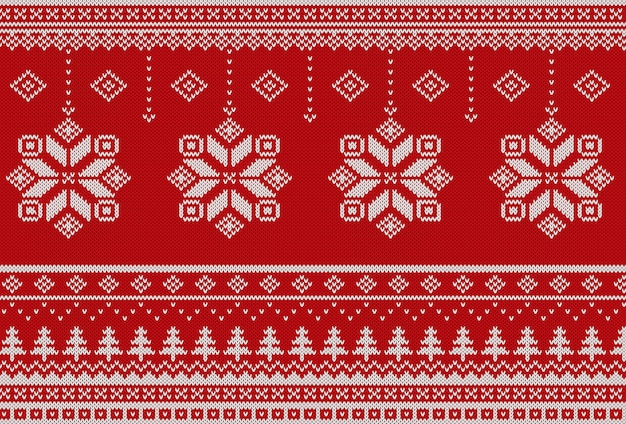 Scandinavian christmas knitted pattern | Premium Vector