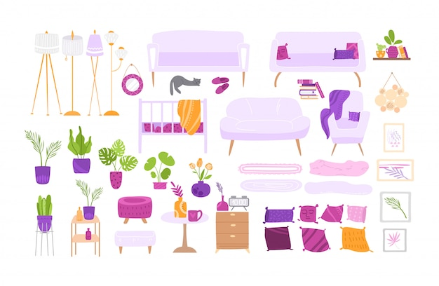 Scandinavian cozy room interior - large furniture and home decor set - armchair, table, lamp, sofa, pillow, wall picture, potted plants - Premium Vector