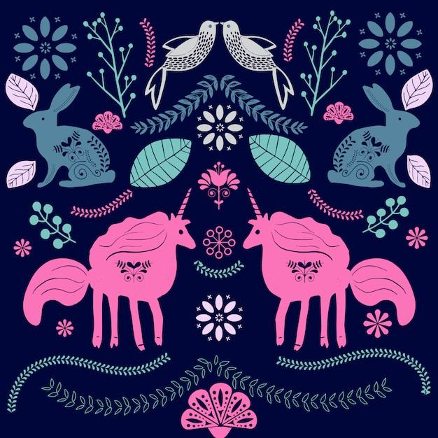 Scandinavian folk art illustration with birds and flowers Premium Vector