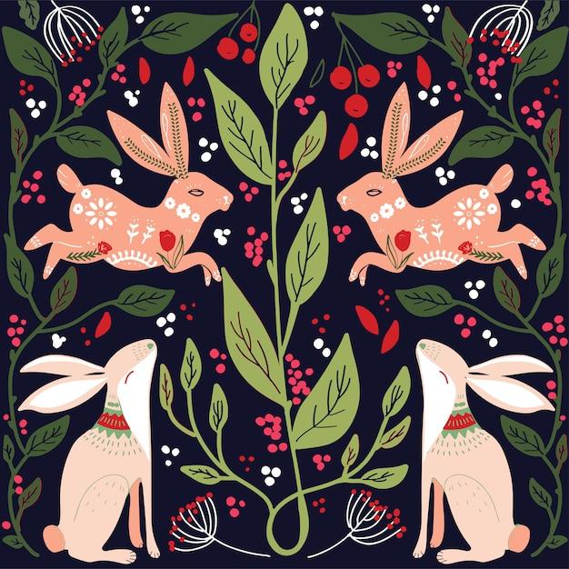Scandinavian folk art pattern with birds and flowers Premium Vector