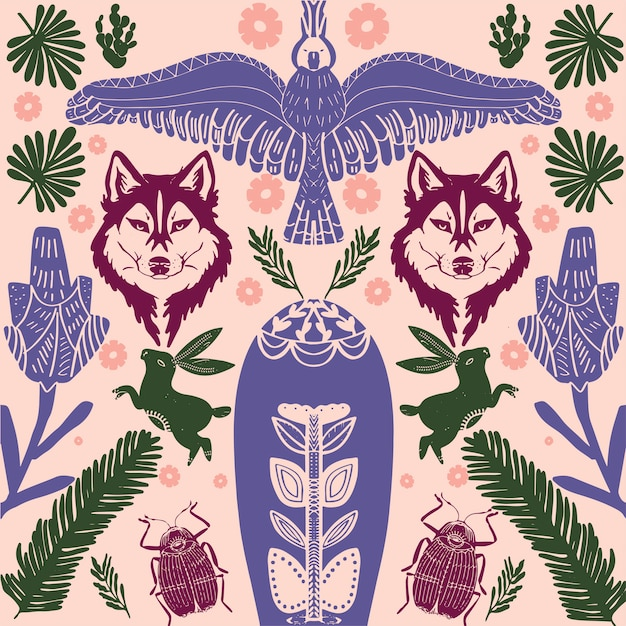 Scandinavian folk art pattern with birds and flowers Premium Vector