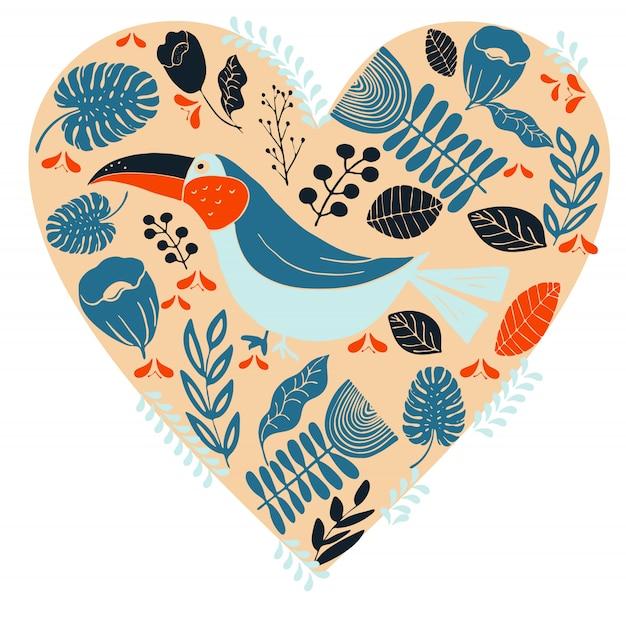 Scandinavian folk art with birds and flowers Premium Vector