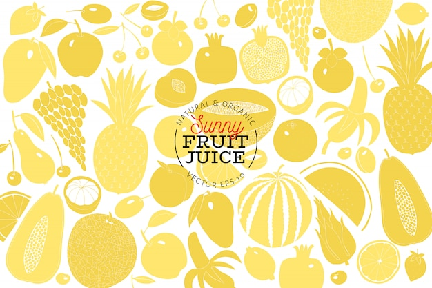Scandinavian hand drawn fruit design template. Premium Vector