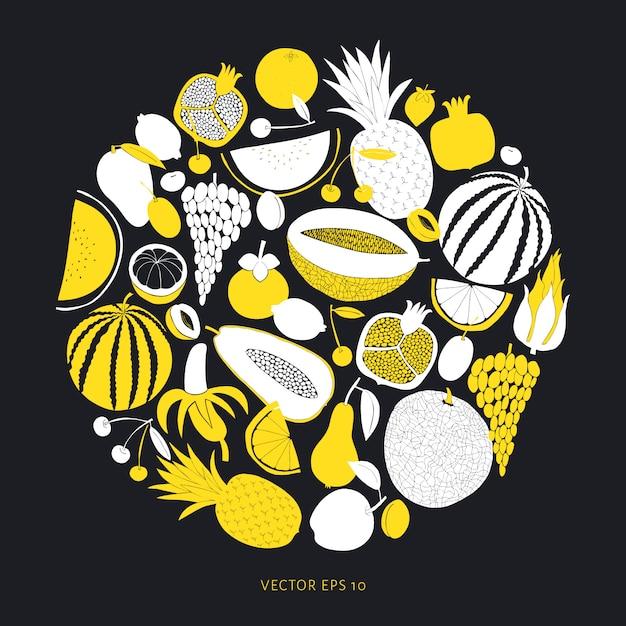 Scandinavian hand drawn fruit template. Premium Vector