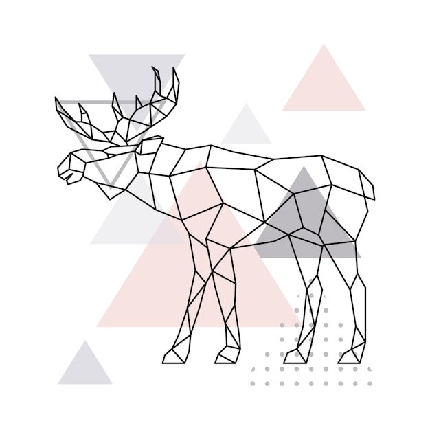 Scandinavian moose Premium Vector