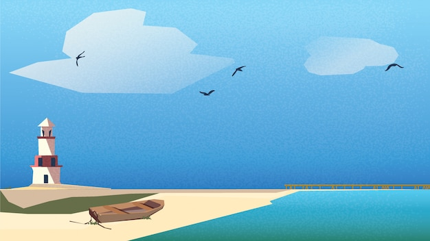 Scandinavian or nordic seaside landscape .lighthouse, wooden boat on the beach with jetty under blue sky and turquoise green sea. Premium Vector