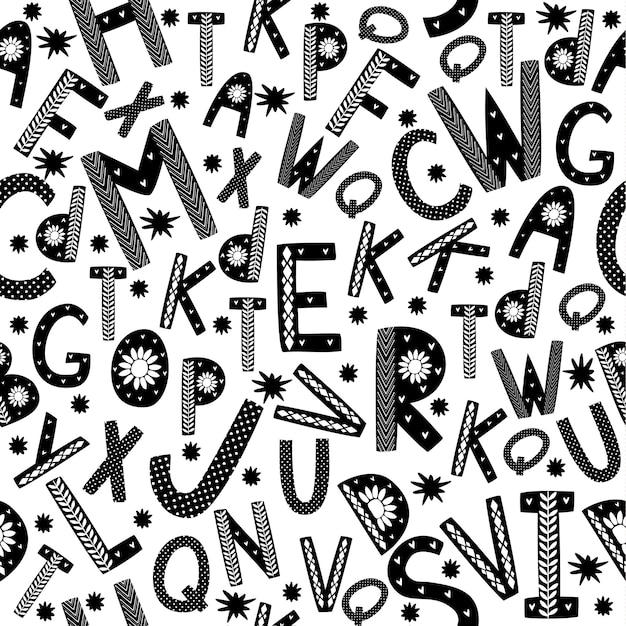 Scandinavian style seamless pattern with letters Free Vector