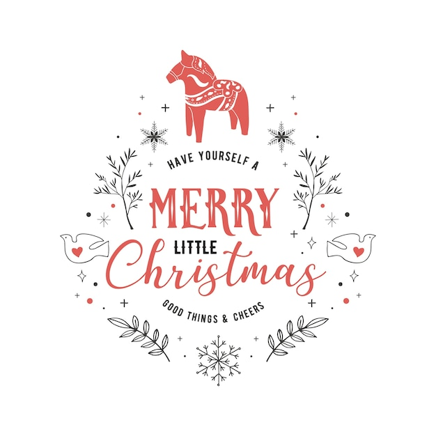 スカンジナビアスタイル、手描きの要素、引用符、レタリングとシンプルでスタイリッシュなメリークリスマスグリーティングカード Premiumベクター
