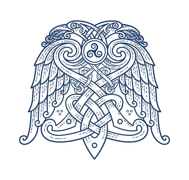 Скандинавская татуировка символа бога одина Premium векторы