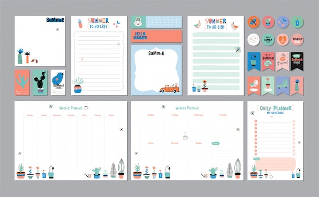 Scandinavian weekly and daily planner template. organizer and schedule with notes and to do list. . . trendy holiday summer concept with graphic  elements Premium Vector