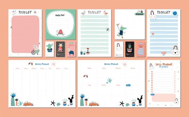Scandinavian weekly and daily planner template. organizer and schedule with notes and to do list. Premium Vector