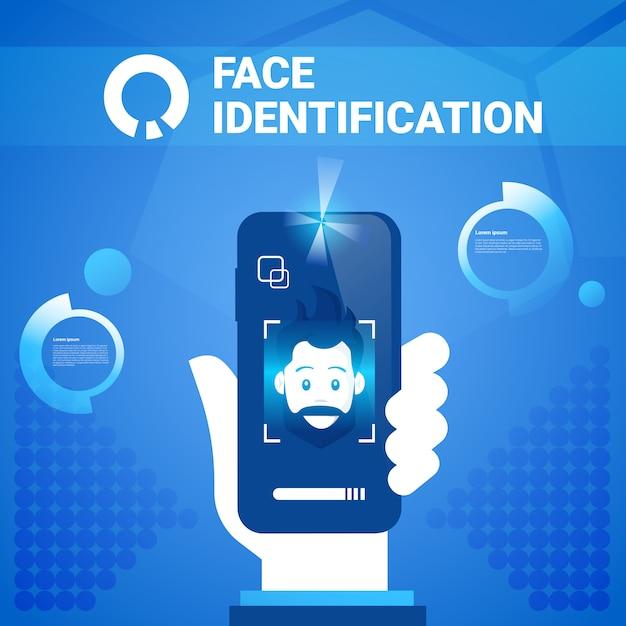 ハンドヘルドスマートフォンの顔識別技術scannig manアクセス制御システム生体認証の概念 Premiumベクター