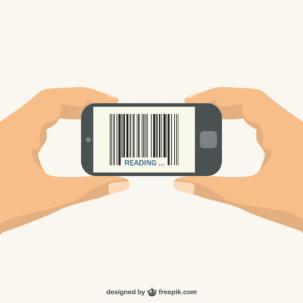 Scanning a barcode with a smartphone Free Vector