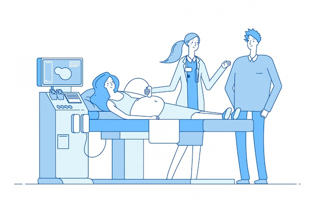 Scanning pregnancy. pregnant woman sonography examination. husband doctor looking monitor sonogram. pregnancy diagnostic  image Premium Vector