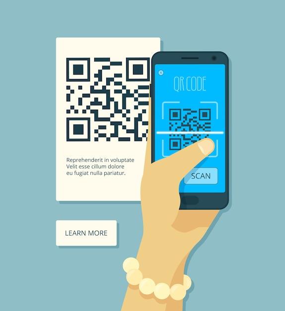 Сканирование qr-кода. рука, держащая смартфон и лазерное сканирование, кодирование наклейки Premium векторы