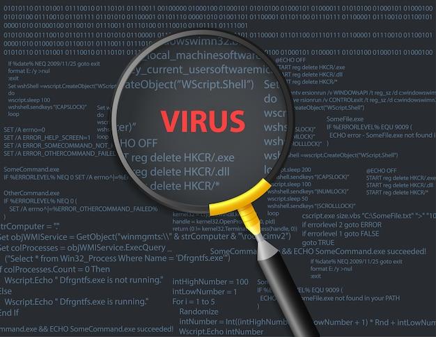 スクリプトの背景にウイルスをスキャンする Premiumベクター
