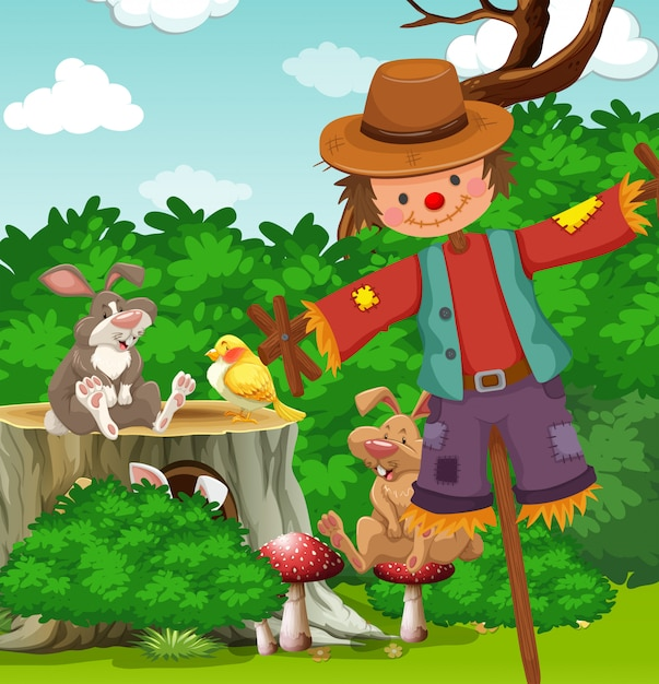 Scarecrow in the field Free Vector