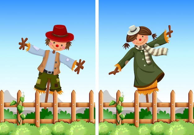 Scarecrows in the field Free Vector