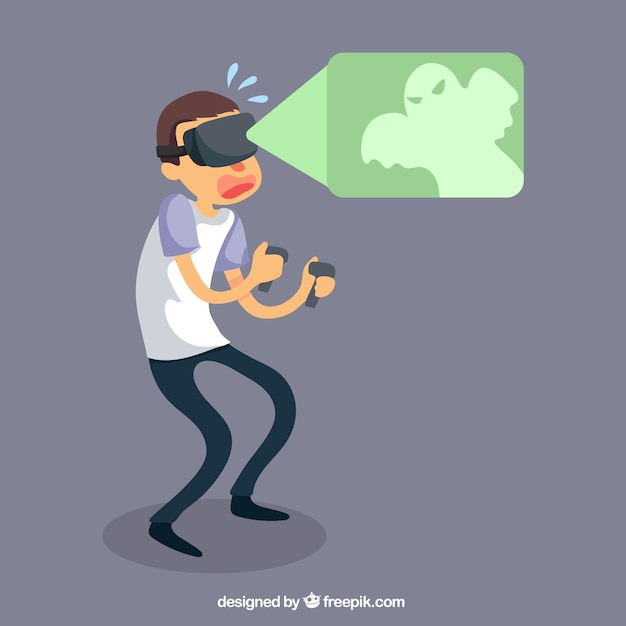 Scared boy with virtual reality glasses