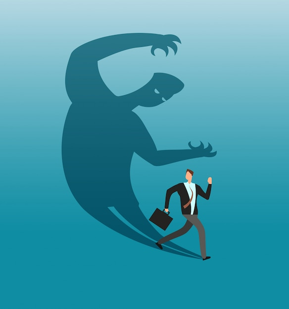 Scared businessman running away in panic from own shadow. anxiety ...