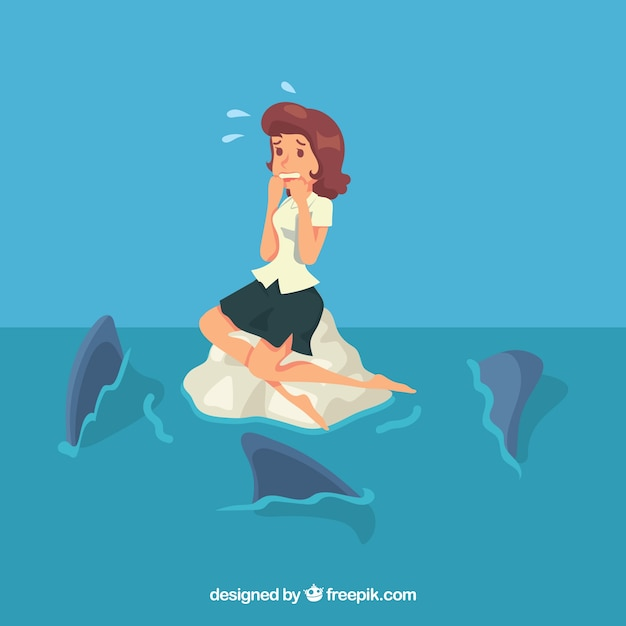Scared businesswoman and sharks