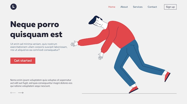 Scared clumsy guy stumbling Free Vector