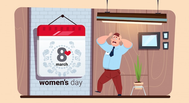 Scared man looking at calendar 8 march happy women day creative greeting card Premium Vector